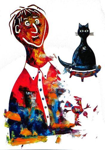 Önarckép fekete macskával